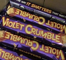 a picture of a box of Violet Crumbles, Australian crunchies