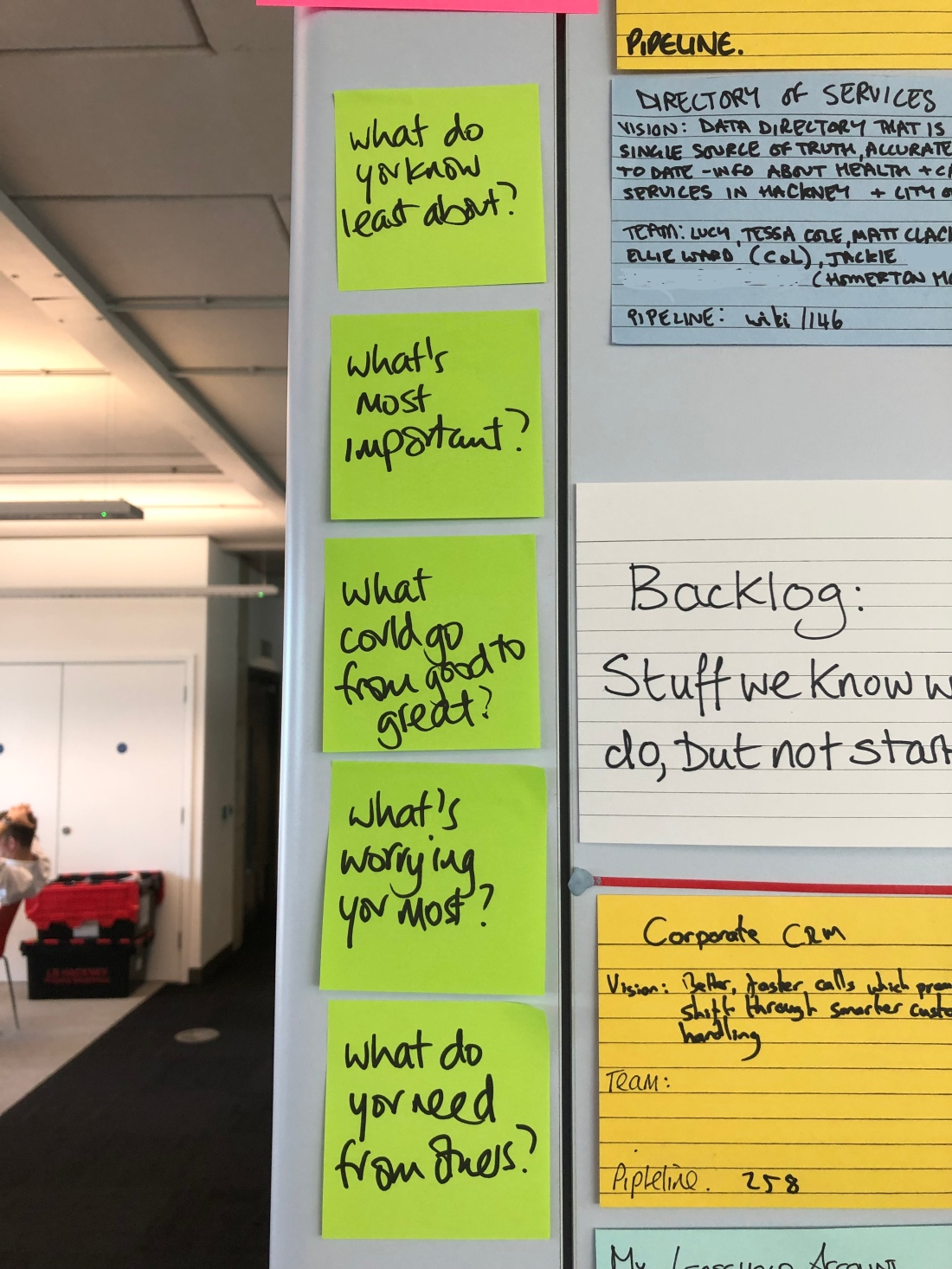 a picture of post it notes on a wall, listing the key questions. what do you need from others?, what's worrying you most? what could go from good to great? what's most important? and what do you know least about?